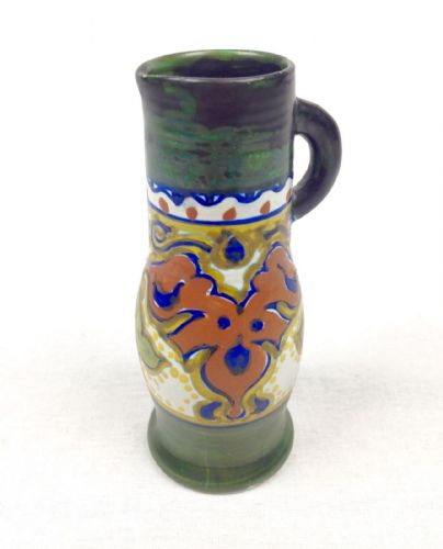 Gouda Pottery Vase / Jug Art Deco 1922 Green / Brown / Blue Collectable